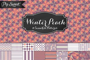 Winter Peach 17 Seamless Pattern Set