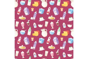 Milk everyday products food and milky dairy drinks vector seamless pattern background