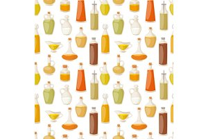 Different food oil in bottles liquid natural virgin organic healthy container vector illustration seamless pattern background