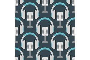 Vector headphones background hip hop seamless pattern musician expressive rap music instrument
