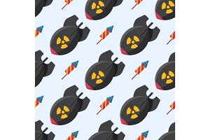 Bomb dynamite fuse vector illustration grenade seamless pattern attack power ball burning detonation explosion