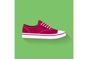 icon of sneakers. Sport shoes, footwear vector sign, symbol
