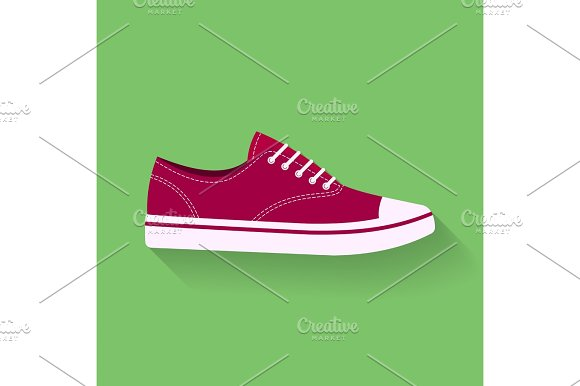 Icon Of Sneakers Sport Shoes Footwear Vector Sign Symbol