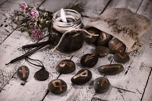 Runes and black candle