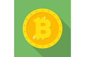 Gold Bitcoin coin icon.
