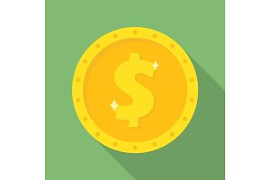 Gold dollar coin icon. Money symbol