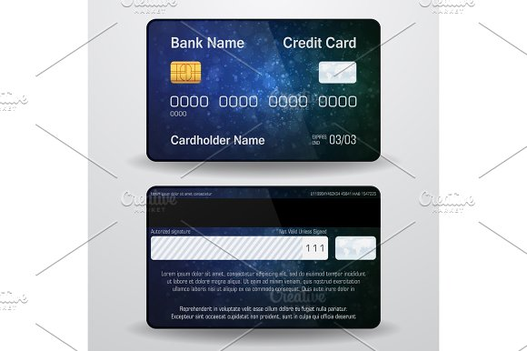 Detailed Realistic Vector Credit Card Front And Back Side Money Payment Symbol