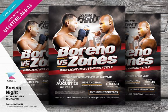 boxing night flyer poster template flyer templates creative market