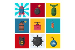 Bomb dynamite fuse vector illustration grenade attack power ball burning detonation explosion