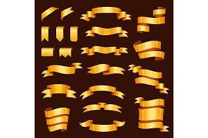Golden ribbon tape banner flag bow vector illustration.