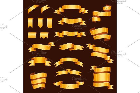 Golden Ribbon Tape Banner Flag Bow Vector Illustration