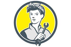 Female Mechanic Worker Holding Wrenc