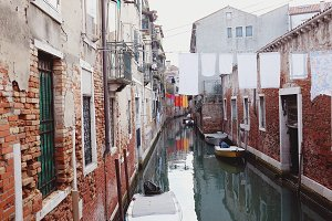 Charming water canal in Venice