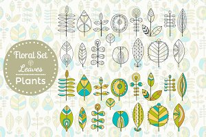 Set of Leaves, Seamless Patterns