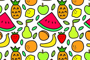 Simple fruits seamless pattern
