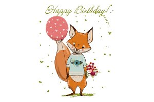 Cute Birthday Fox