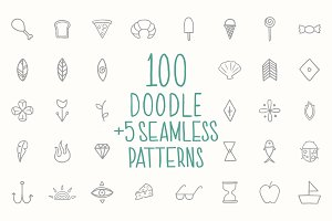 100 Doodle + 5 Seamless Patterns