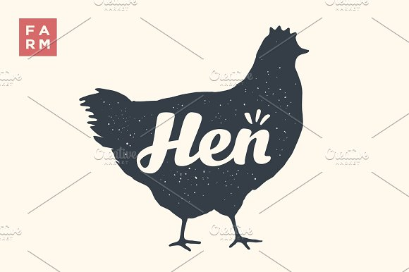 Isolated Hen Silhouette With Lettering