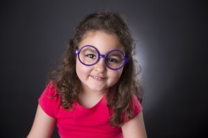 Girl and purple glasses