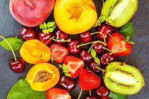 fruits on slate