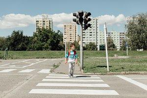 Schoolboy on the zebra crossing