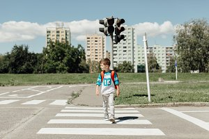 Boy on the way to school