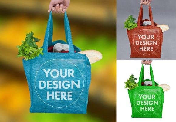Bag With Groceries Mockup