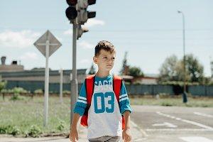 Boy on the zebra crossing