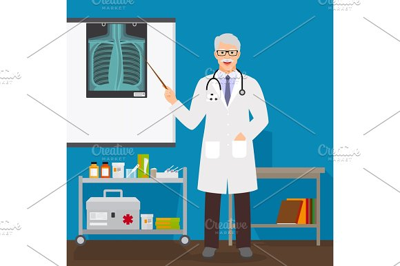 Doctor Man With X-ray On Stand