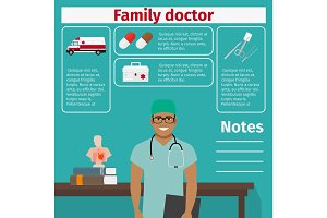Family doctor and medical equipment icons