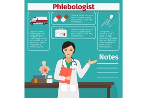 Female phlebologist and medical equipment icons