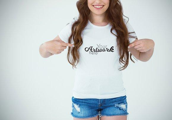 Woman Pointing At T-Shirt Mockup