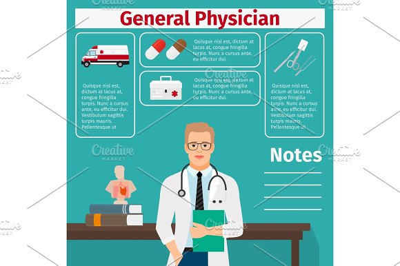 General Physician And Medical Equipment Icons
