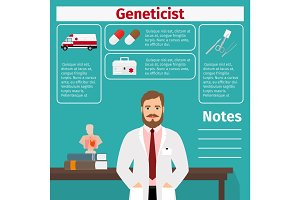 Geneticist and medical equipment icons