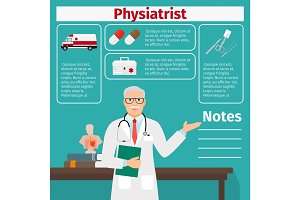 Physiatrist and medical equipment icons