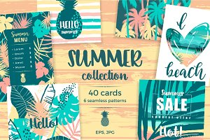 Summer collection. Cards & patterns.