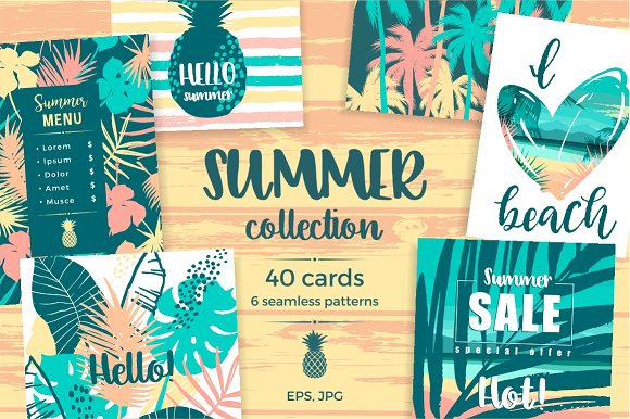 Summer Collection Cards Patterns