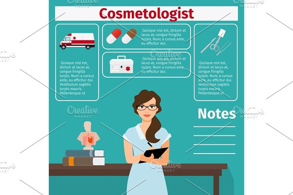 Cosmetologist And Medical Equipment Icons