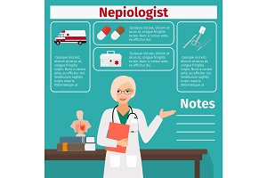 Nepiologist and medical equipment icons