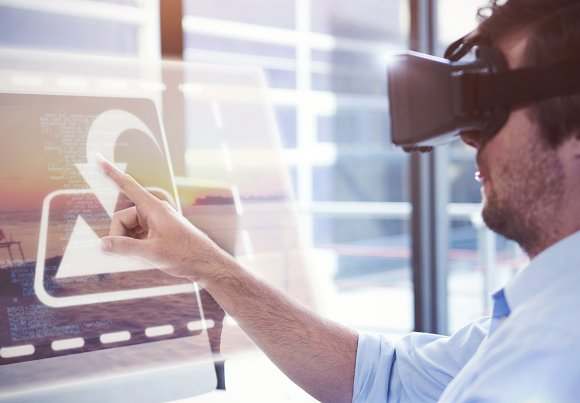 Man Using VR Headset Mockup