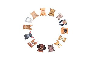 Circle of Different Purebred Dogs. Vector