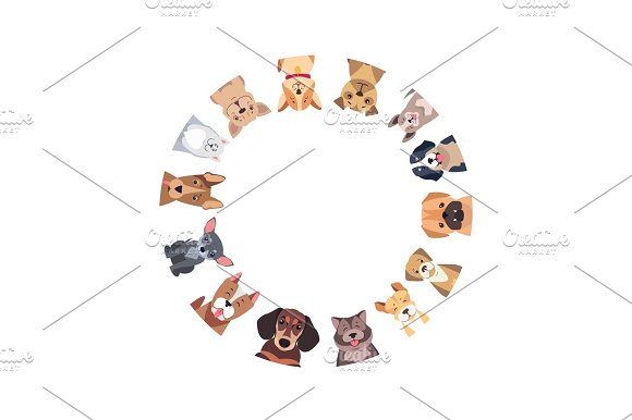 Circle Of Different Purebred Dogs Vector