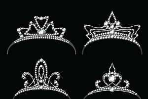 Tiaras with diamond vector set