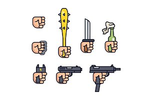 Cold weapon and firearms collection. Weapons in the hand. Vector line icon set for mobile game. Fist, brass knuckles, baseball bat with thorns, knife, shocker, gun, machine gun. Infographic.
