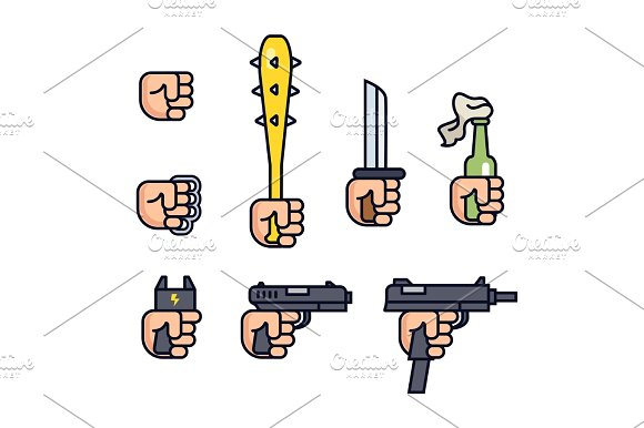 Cold Weapon And Firearms Collection Weapons In The Hand Vector Line Icon Set For Mobile Game Fist Brass Knuckles Baseball Bat With Thorns Knife Shocker Gun Machine Gun Infographic
