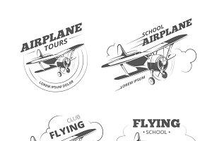 Vintage airplane or aircraft logos