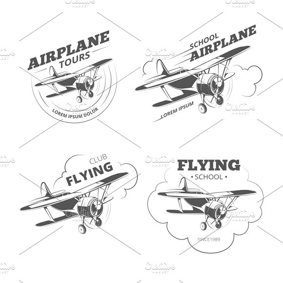 Vintage Airplane Or Aircraft Logos
