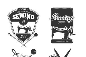 Tailor shop retro vector badges set