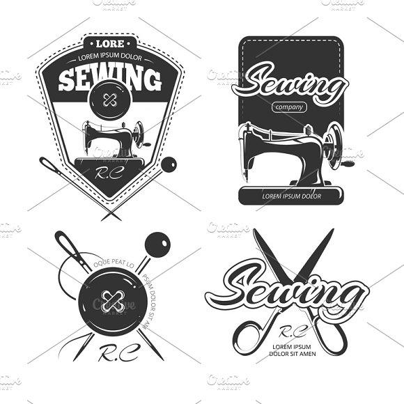 Tailor Shop Retro Vector Badges Set