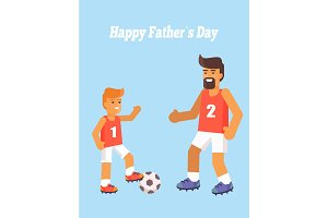Happy Fathers Day Poster with Son and Dad Vector